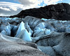 On Viedma glacier, striking ice formations and colors all around